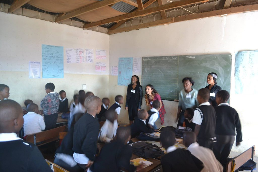 London students teaching at Magoba JSS